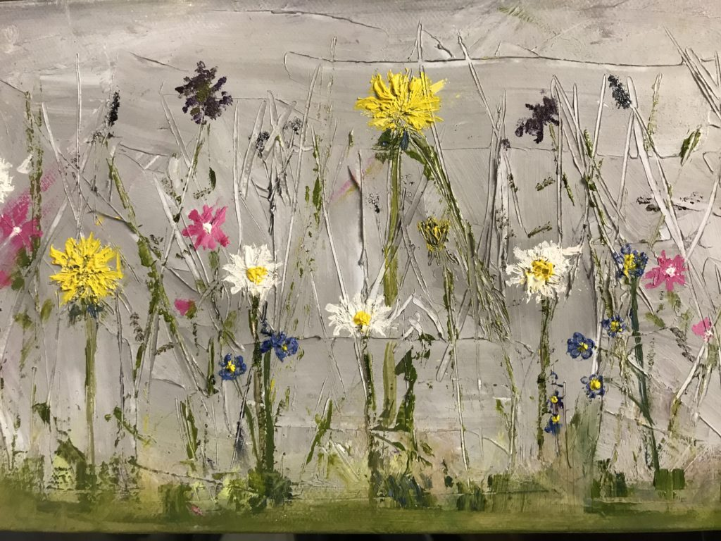 Pink Campion Wild Flowers painted in oil on canvas 50 x 20 cm £200