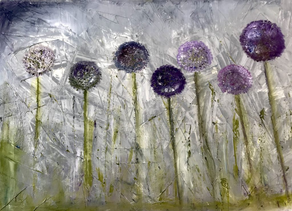 Large Alliums oil on canvas 76 x50 cms affordable impasto £300