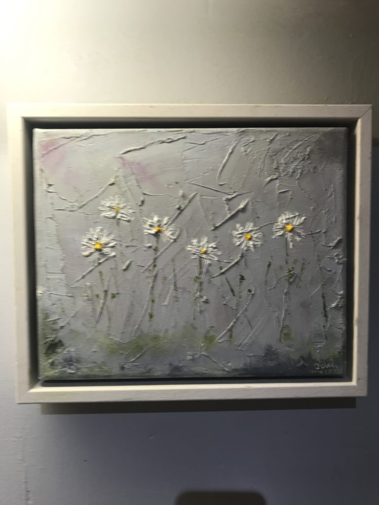 Delicate oil painting of daisies by local artist Julie Driscoll cost £120