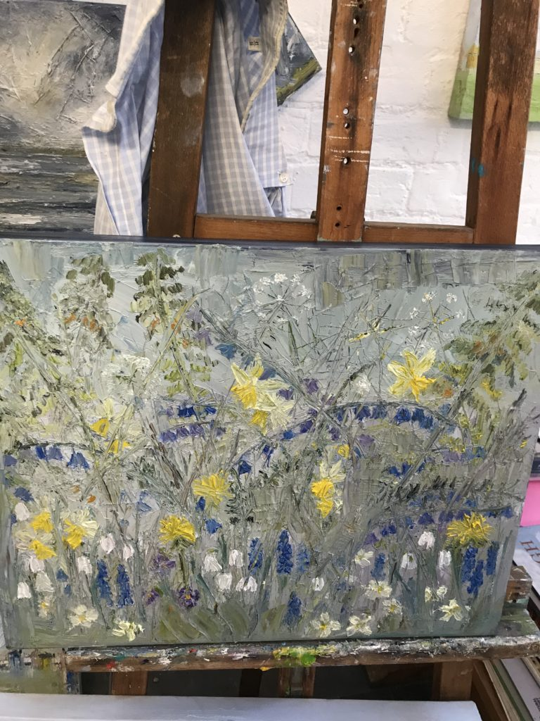 Woodland wild flowers impressionist oil painting by Julie Driscoll Suffolk Artist costs £280 measures 50 x40 cms